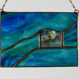 Frog Mini Window, stained glass by Michelle Copeland at ThistleGlass.com