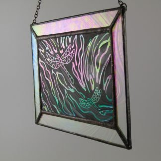 Dragonfly Mini Window, Lg. – Stained Glass by Michelle Copeland at ThistleGlass.com