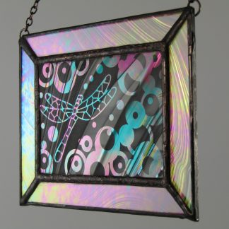 Dragonfly Mini Window, Med., Stained Glass by Michelle Copeland at ThistleGlass.com