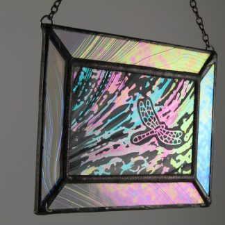 Dragonfly Mini Window III, Med. Stained Glass by Michelle Copeland at ThistleGlass.com