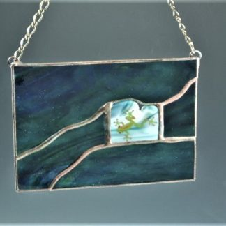 Frog Mini Window, stained glass designed by Michelle Copeland at ThistleGlass.com