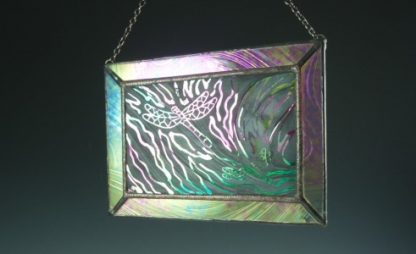 Dragonfly Mini Window, Lg., stained glass designed by Michelle Copeland at ThistleGlass.com