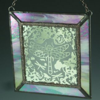 Engraved Dragonfly Mini Window, stained glass by Michelle Copeland at ThistleGlass.com