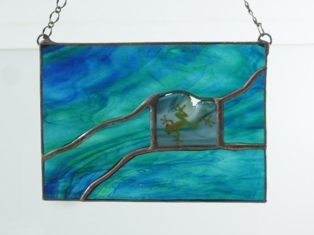Frog Mini Stained Glass Window - Designed by Artist Michelle Copeland