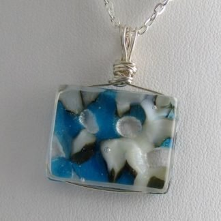 Reversible Blue Irid, fused glass necklace designed by Michelle Copeland at ThistleGlass.com