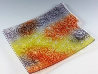 Sgraffito Fused Glass Tray - Designed by Artist Michelle Copeland at ThistleGlass.com