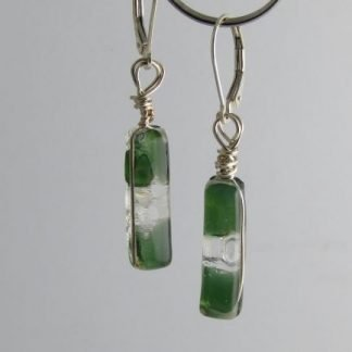 Reversible Green Irid Earrings, fused glass designed by Michelle Copeland at www.ThistleGlass.com