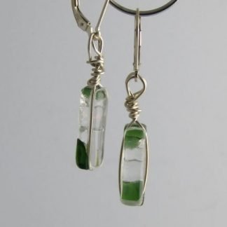 Reversible Green Irid Earrings I, fused glass designed by Michelle Copeland at www.ThistleGlass.com