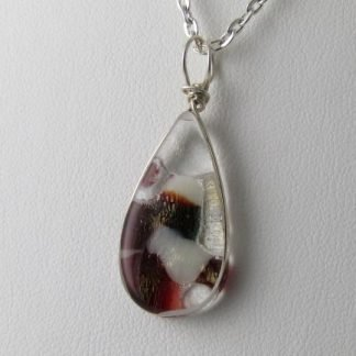Reversible Red Irid Drop, fused glass necklace designed by Michelle Copeland at ThistleGlass.com