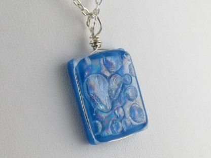 Textured Irid. Blue I, fused glass necklace by Michelle Copeland at www.ThistleGlass.com