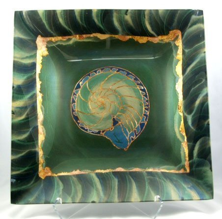 "Nautilus 24"" x 24""-Verre Eglomise Glass Tray Designed by Artist Michelle Copeland at ThistleGlass.com"