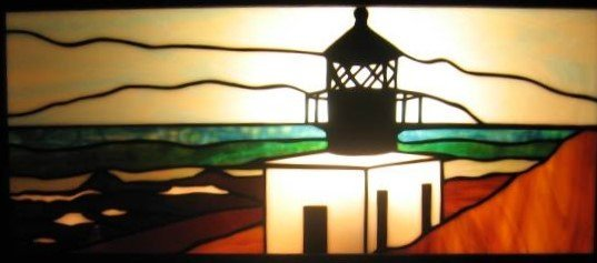 Custom Stained Lighthouse created by Artist Michelle Copeland at ThistleGlass.com