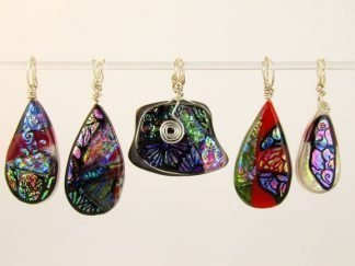Carved Dichroic Fused Glass Jewelry by Artist Michelle Copeland at www.ThistleGlass.com