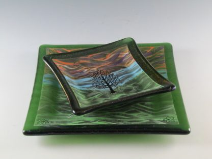 Tree Dishes, 5 and 7 inches - Designed by Artist Michelle Copeland at ThistleGlass.com