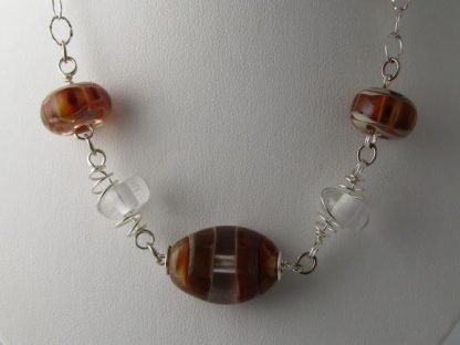 Amber Charm Necklace, Lampwork Glass Beads and Silver by Michelle Copeland at ThistleGlass.com