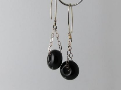 Black Charm Earrings, Lampwork Glass Beads and Silver by Michelle Copeland at ThistleGlass.com