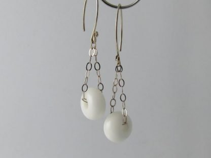 White Charm Earrings, Lampwork Glass Beads and Silver by Michelle Copeland at ThistleGlass.com