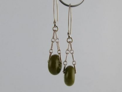 Olive Green Charm Earrings, Lampwork Glass Beads and Silver by Michelle Copeland at ThistleGlass.com