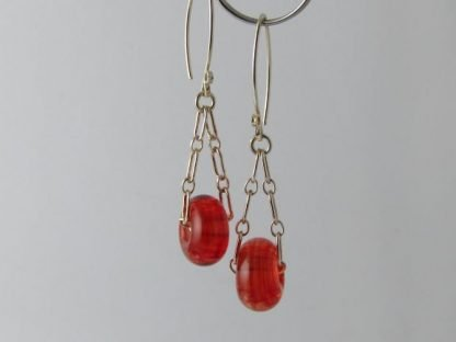 Light Red Charm Earrings, Lampwork Glass Beads and Silver by Michelle Copeland at ThistleGlass.com