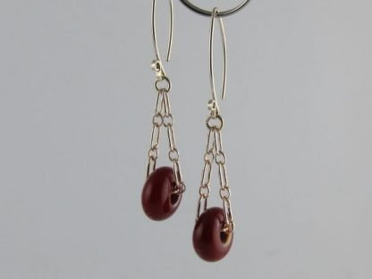 Dark Red Charm Earrings, Lampwork Glass Beads and Silver by Michelle Copeland at ThistleGlass.com