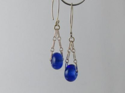 Cobalt Blue Charm Earrings, Lampwork Glass Beads and Silver by Michelle Copeland at ThistleGlass.com