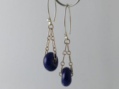 Lapis Blue Charm Earrings, Lampwork Glass Beads and Silver by Michelle Copeland at ThistleGlass.com