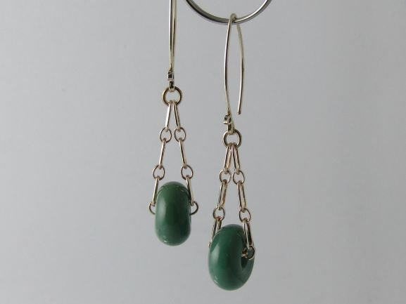 Jade Green Charm Earrings, Lampwork Glass Beads and Silver by Michelle Copeland at ThistleGlass.com