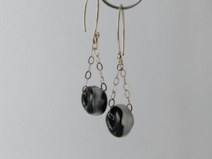 Ivory & Black Charm Earrings, Lampwork Glass Beads and Silver by Michelle Copeland at ThistleGlass.com