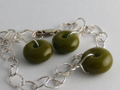 Olive Green Charm Bracelet, Lampwork Glass Beads and Silver by Michelle Copeland at ThistleGlass.com