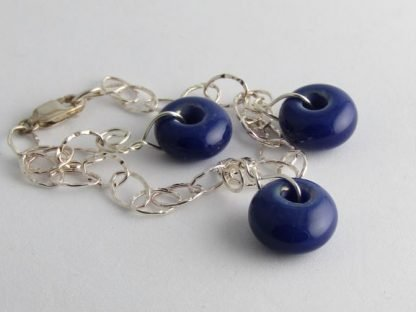 Lapis Blue Charm Bracelet, Lampwork Glass Beads and Silver by Michelle Copeland at ThistleGlass.com
