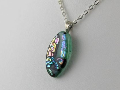 Carved Series, dichroic fused glass necklace designed by Michelle Copeland at ThistleGlass.com