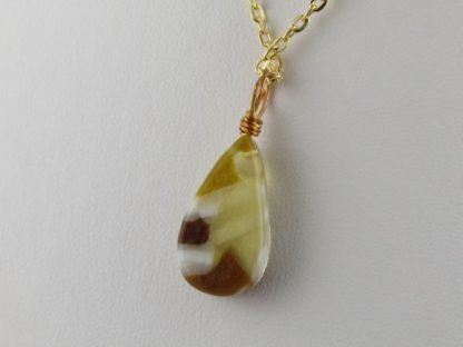 Reversible Amber Drop Series, fused glass necklaces designed by Michelle Copeland at ThistleGlass.com