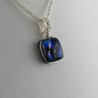 Playhouse Mini Dichroic Fused Glass Necklace Designed by Michelle Copeland at ThistleGlass.com