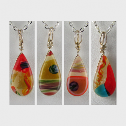 Drop Necklaces, blown and fused glass designed by Michelle Copeland at ThistleGlass.com