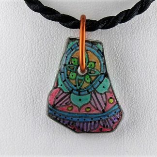 Stained Mandala Bottle Necklace, Recycled glass jewelry designed by Michelle Copeland at ThistleGlass.com