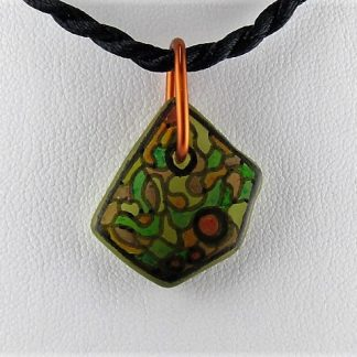 Camo Bottle Necklace, Recycled glass jewelry designed by Michelle Copeland at ThistleGlass.com