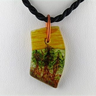 Woodsy Bottle Necklace, Recycled glass jewelry designed by Michelle Copeland at ThistleGlass.com