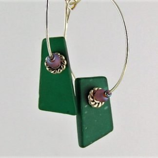 Stained Glass Hoop Earrings, recycled and created by Michelle Copeland at ThistleGlass.com