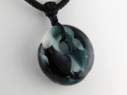 Black and Teal Necklace, lampwork glass by Thistle Glass