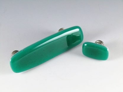 Emerald Green Fused Glass Handles and Knobs by Michelle Copeland at ThistleGlass.com