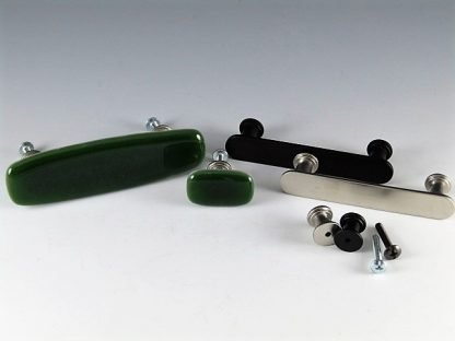 Olive Green Fused Glass Handles and Knobs by Michelle Copeland at ThistleGlass.com