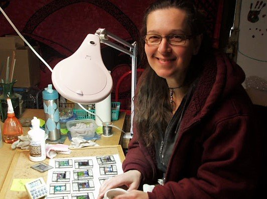 Michelle Copeland making stained glass mini windows