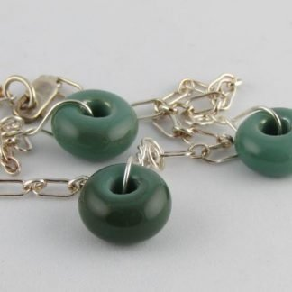 Jade Green Charm Bracelet, Lampwork Glass Beads and Silver by Michelle Copeland at ThistleGlass.com