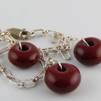 Dark Red Charm Bracelet, Lampwork Glass Beads and Silver by Michelle Copeland at ThistleGlass.com