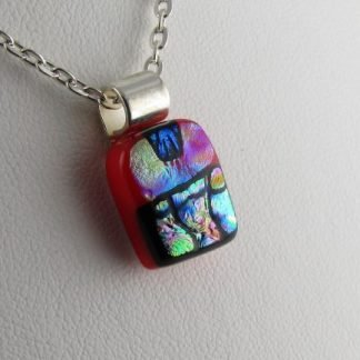 Carved Red Mini Dichroic Necklace, fused glass designed by Michelle Copeland at ThistleGlass.com