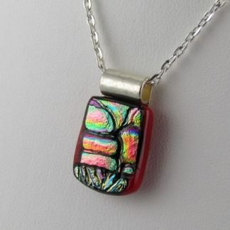 Carved Red I Dichroic Necklace, fused glass designed by Michelle Copeland at ThistleGlass.com