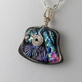 Carved Organic Dichroic Necklace, fused glass designed by Michelle Copeland at ThistleGlass.com