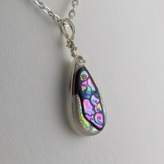 Carved White Dichroic Drop Necklace, fused glass designed by Michelle Copeland at ThistleGlass.com