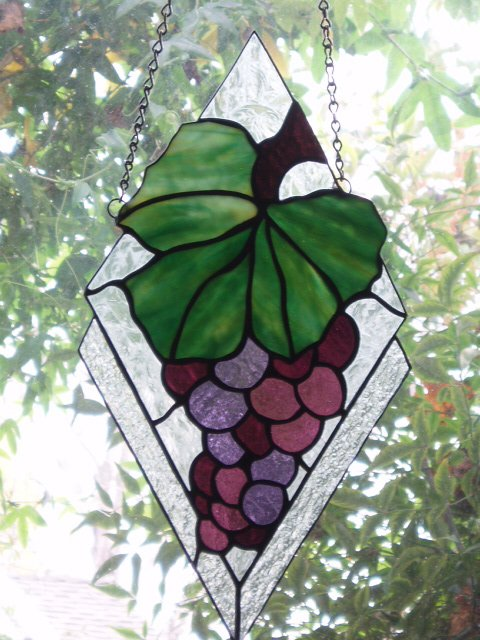 Grapes, Stained Glass Window designed by Michelle Copeland at ThistleGlass.com