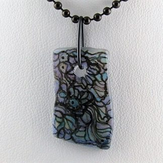 Fantasy Bottle Necklace, hand-painted recycled glass by Michelle Copeland at ThistleGlass.com